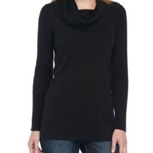 Crown & Ivy Petite Black Sweater with Cowl Neck